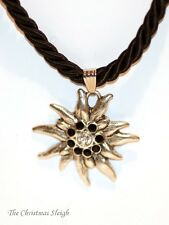 German Bavarian Women's Oktoberfest Jewelry - Black Swarovski Edelweiss Necklace