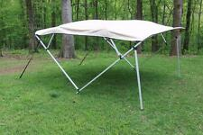 NEW VORTEX SQUARE TUBE FRAME 4 BOW PONTOON/DECK BOAT BIMINI TOP 8' BEIGE 91-96""