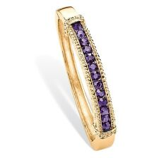PalmBeach Jewelry Simulated Purple Amethyst Crystal Gold Tone Bangle Bracelet 8""