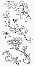 Inkadinkado Clear Stamps Acrylic Wild Flowers Stems Daisy Butterfly Dragonfly 6p