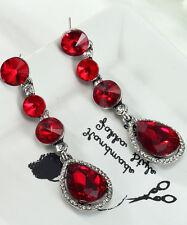 1 Pair Elegant Red Crystal Rhinestone  Ear Drop Dangle Stud long Earrings 173