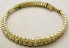 "Vintage 15"" Collar Choker Necklace w/Double Row Ascending Cream Simulated Pearls"