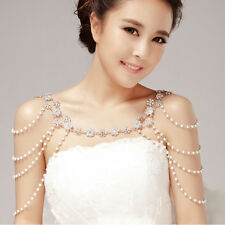1pc Wedding Bridal Crystal Rhinestone Pearl Shoulder Body Chain Necklace Jewelry