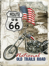 Route 66 Old Trails Road Easy Rider Motorcycle Bike Large 3D Metal Embossed Sign