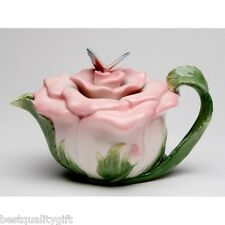 COLLECTIBLE PORCELAIN BUTTERFLY ON PINK ROSE FLOWER TEAPOT+NEW IN BOX 20853