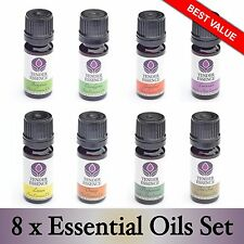 8 x Essential Oil Set. Popular aromatherapy kit. 100% Pure Oils in 10ml bottles.