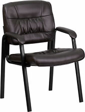 BROWN LEATHER GUEST RECEPTION WAITING ROOM OFFICE CHAIRS FREE SHIPING LOT OF 16