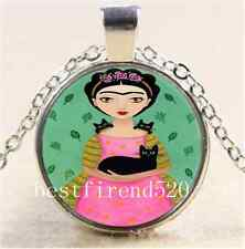 Frida Kahlo and Cat Cabochon Glass Tibet Silver Chain Pendant  Necklace