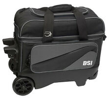 BSI Large Wheel Roller 2 Ball Double Roller Bowling Bag Black/Gray