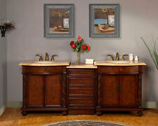 "84"" Travertine Top Bathroom Vanity Cabinet LED Light Double Lavatory Sink 193TL"