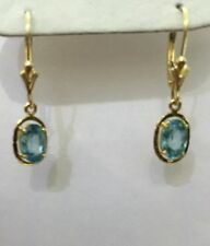 14k Solid Yellow Gold Dangle Leverback Earrings Natural Blue Zircon Cambodia