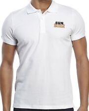 MOSCHINO Swim 'Sun Burn' White Designer Piqué Knit Polo Shirt SMALL Fitted *NWT*