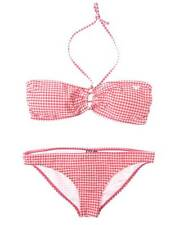 ROXY size 14 Bandeau Bikini 2 Piece Set Red/White Checkered nwt