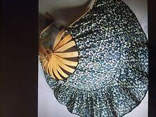 Women's Folding hat-fan (Dark Blue floral)