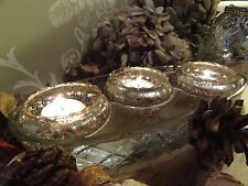 Silver Mercury Glass Floating Tea light Candle Holders, Set of 3, Vintage Style