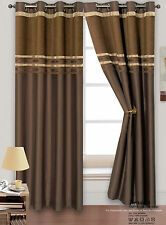 Heavy Thermal Chenille Stripe Ready Made Lined Ring Top Eyelet Curtain Pair
