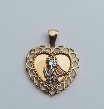 Ladies Message Heart Pendant w/ Filigree Angel - 10K Yellow & White Gold