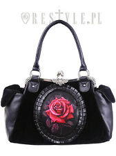 Restyle Red Rose Gothic Velvet Emo Punk Skull Skeleton Black Bag Purse Handbag