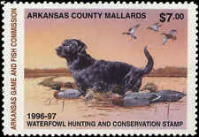 ARKANSAS #16 1996 STATE DUCK  STAMP MALLARDS BLACK LAB  by Phillip Crowe
