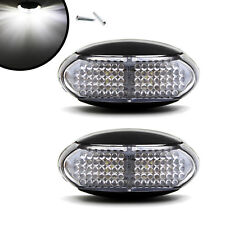 2X TRUCK TRAILER CAMPER LED SIDE CLEARANCE MARKER LIGHTS LAMP WHITE 12V 24V