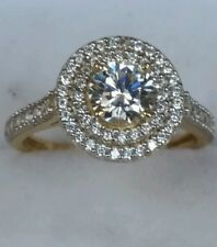 1.63 CT Round Cut Double Halo 14k Yellow Gold Engagement Ring S  6.5