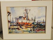 "John Cuthbert Hare ""Fishing Boat At Dock"" Orignal Watercolor"