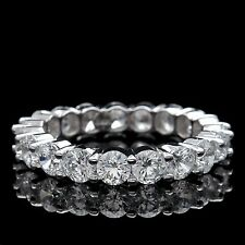 4.00 Ct. Round Lab Diamond Eternity Ring 14k White Gold Brilliant Wedding Band