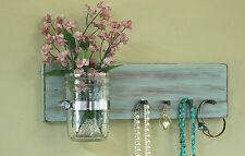 Jewelry organizer leash holder mason jar vase wall hanging necklace holder