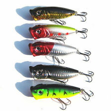 5PCS Lot Topwater Popper Minnow Freshwater Fishing Lures Bait Crankbait Tackle
