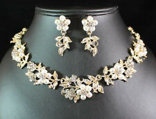 FLORAL PEARL AUSTRIAN RHINESTONE CRYSTAL NECKLACE EARRINGS SET BRIDAL N1424GOLD