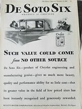 1928 1929 DeSoto Six Car Such Value Could Come No Other Source Original Ad