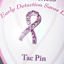 "Breast Cancer Awareness Tac Pin with Pink Sparkling  Crystals 1"" H x 1/2"" W"