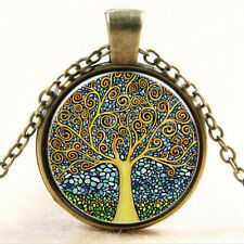 Fashion Tree of Life Cabochon Bronze Glass Chain Chic Pendant Necklace EW