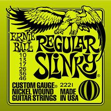 Ernie Ball 2221 Regular Slinky Lime Guitar Strings Free Shipping 10-46 Nickel