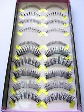 10 Pairs Best Quality Handmade False Fake Eyelashes - Mix Style Pack - Alinda