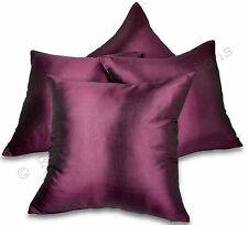 "Set of 4 Plum/Purple Taffeta/Faux Silk 18"" Cushion Covers BNIP Aubergine"