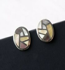 Mother of Pearl Studs, 925 Sterling Silver, Mosaic Studs, Oval Earrings, Boho