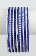 Bellydance14 Bangle Bracelets BLUE/WHITE Combo Slim Design Large Size India