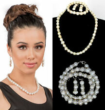 New Natural Freshwater White Pearl Jewellery Set - Bridal Bridesmaid Jewelry UK
