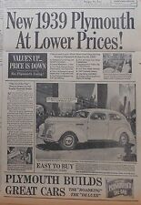 "Vintage 1938 newspaper ad for Plymouth - 1939 ""Roadking"" Touring Sedan, Value Up"