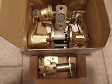 8 Sets of Residential Door Latch Sets With Lever Handles, Polished Brass