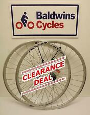 CLEARANCE 700c ROAD SILVER Q/R WHEELS Shimano Claris 8-9-10 Cassette Hub WS284