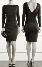COAST NOLITA BLACK RUCHED LONG SLEEVED SILKY WIGGLE DRESS BNWT 12 £115