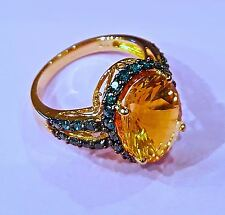 14 Ct SOLID Gold Blue Diamond and Yellow Citrine RING SZ 6 3/4 - New With Tags