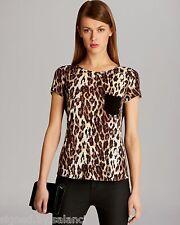 Karen Millen Leopard Print Drape Jersey Black Pocket Cap Sleeve T Shirt Top 8 36