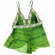 Marciano Tank Cami Lingerie Green Sheer Empire Waist Split Front Size Small ?