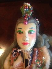 Unique  Vintage China Chinese Golden Ray Puppet With Costume,Girl