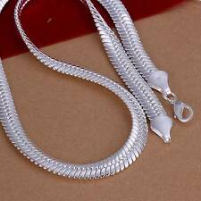 New 925Sterling Solid Silver Men Women Jewelry 12MM Chain Necklace 20inch N209