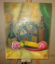 Mid Century Still Life with Farm Table Composition Original Oil Painting 20x16