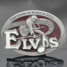 Elvis Presley Western Silver Guitar King of Rock Roll Metal Enamel Belt Buckle W